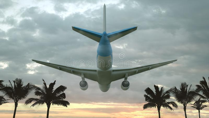 Airplane flying at sunset over the tropical land with palm trees. 3D illustration royalty free illustration