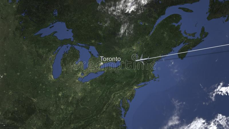 Airplane flying to Toronto, Canada on the map, 3D rendering. Plane arrives to city on the map. 3D royalty free illustration