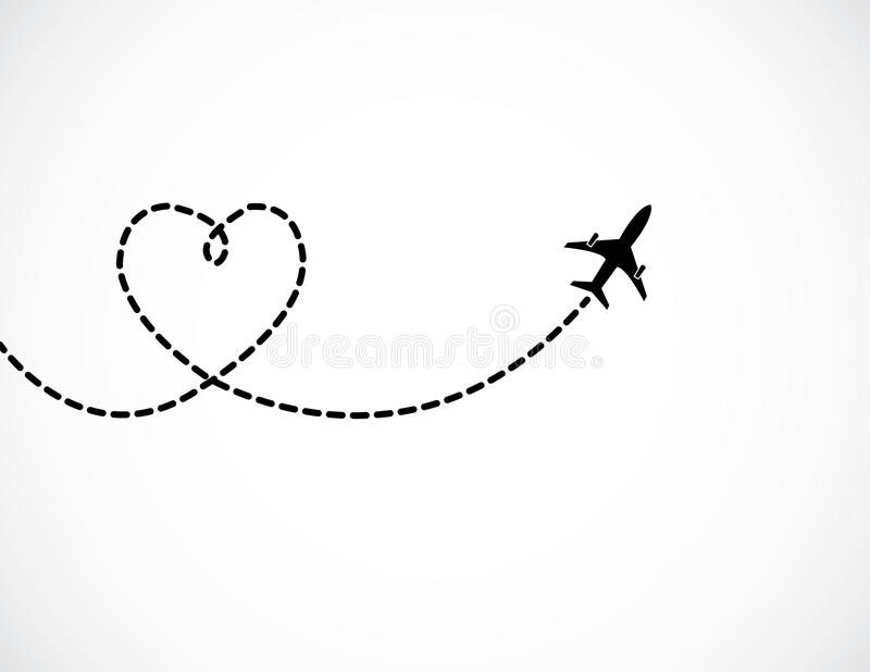 A Airplane flying in the white sky leaving behind. A love shaped smoke trail - concept illustration royalty free illustration