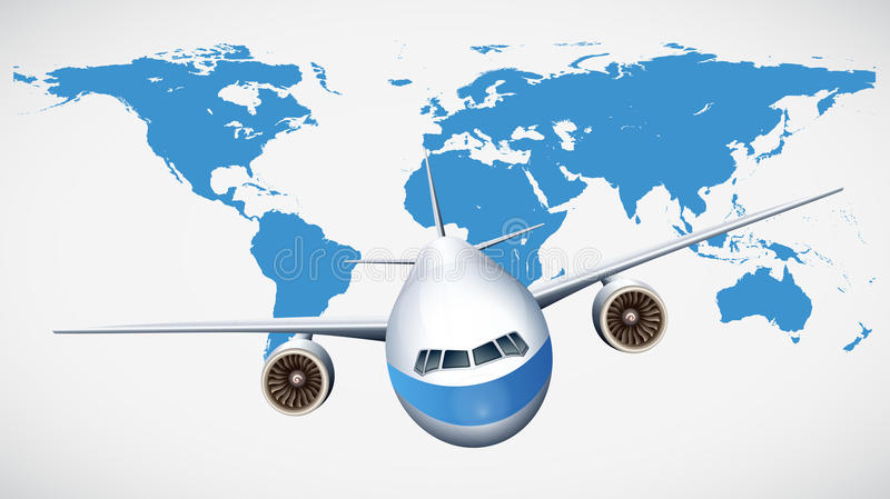 Airplane flying with world map background stock illustration airplane flying with world map background illustration gumiabroncs Choice Image
