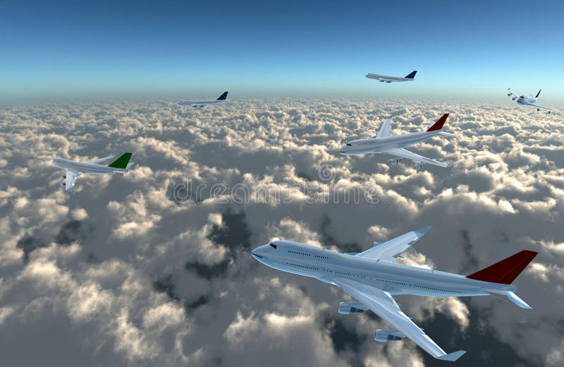 Download Airplane full on sky stock illustration. Illustration of airways - 21962050