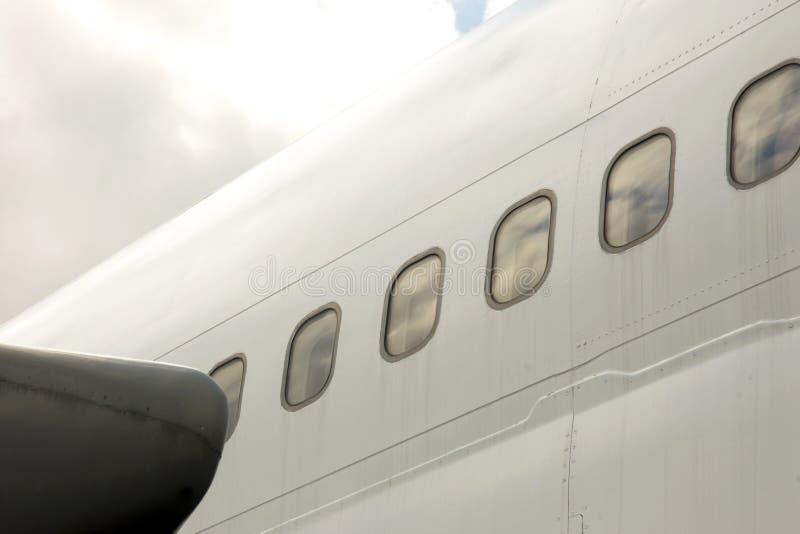 Airplane fuselage. Seen from below royalty free stock photo