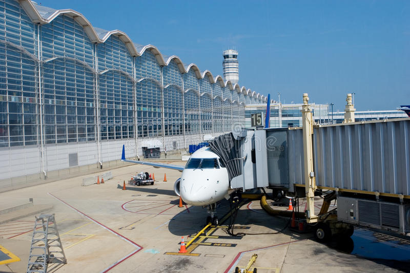 Airplane at the Gate stock photography
