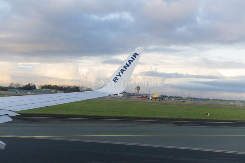 Airplane getting ready to take off from Dublin International Airport stock photo