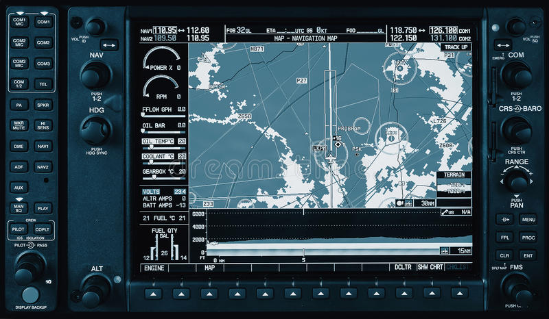 Airplane glass cockpit display with weather radar and engine gauges royalty free stock image