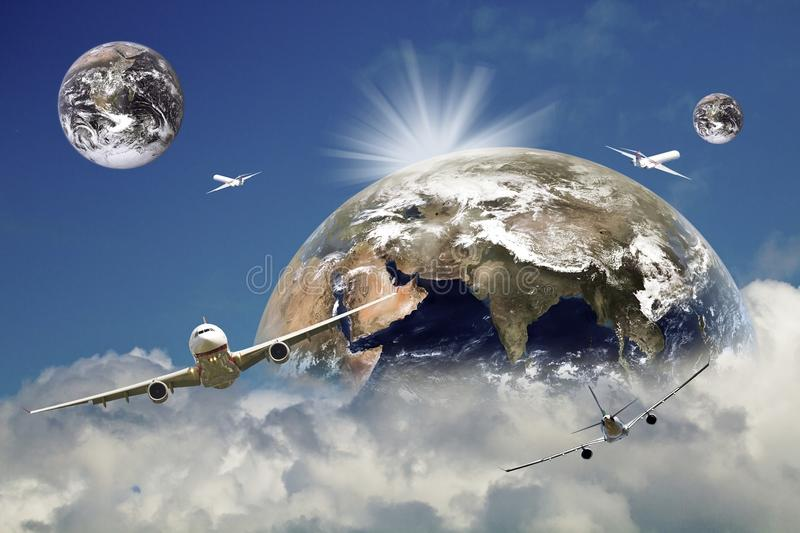 Airplane global business travel concept royalty free stock photo