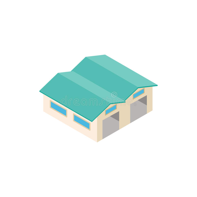 Airplane hangar isometric 3d icon. Isolated on a white background vector illustration
