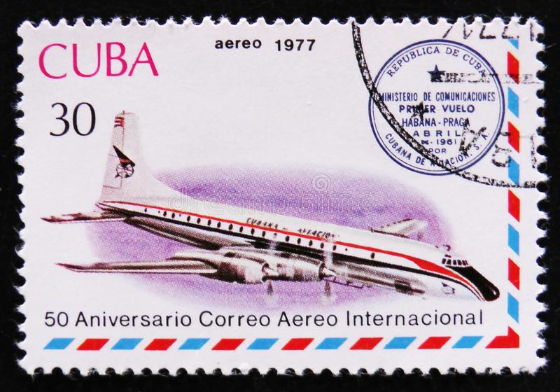 Airplane and Havana-Prague cachet, series International Airmail Service, 50th Anniversary, circa 1977. MOSCOW, RUSSIA - APRIL 2, 2017: A post stamp printed in royalty free stock photo