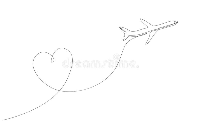 Airplane with heart love travel one  line drawing vector illustration stock illustration