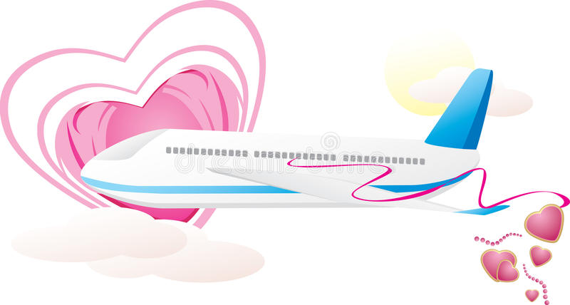 Airplane with hearts. Romance composition. Vector illustration vector illustration