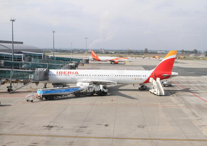 Airplane Iberia on airport royalty free stock images