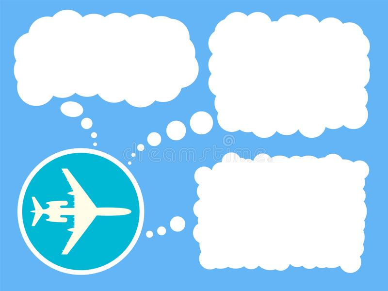 Airplane icon with bubble for text. Travel concept, banner, poster. Vector illustration. stock illustration