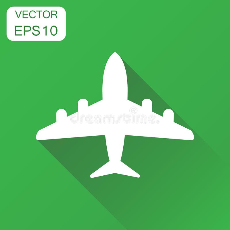 Airplane icon. Business concept plane aircraft pictogram. Vector. Illustration on green background with long shadow stock illustration