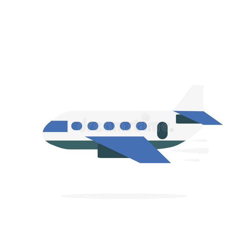 Airplane icon in flat design. Plane with shadow isolated. White background. Vector royalty free illustration