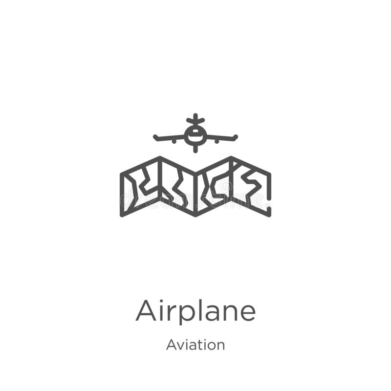 Airplane icon vector from aviation collection. Thin line airplane outline icon vector illustration. Outline, thin line airplane. Airplane icon. Element of vector illustration