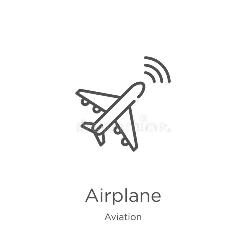 Airplane icon vector from aviation collection. Thin line airplane outline icon vector illustration. Outline, thin line airplane. Airplane icon. Element of royalty free illustration