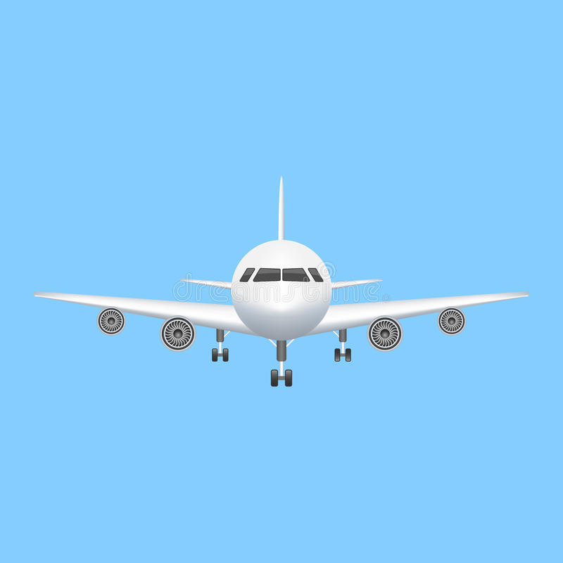 Airplane icon vector aviation illustration. Passenger airplane on blue background royalty free illustration