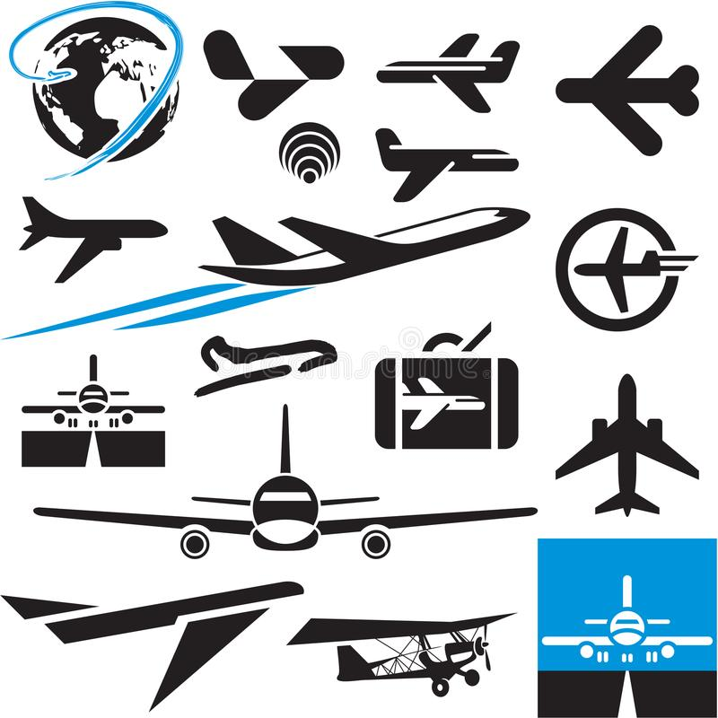 Airplane icons. Airport symbols. Plane. Airplane icons. Airport symbols. Plane logo vector illustration