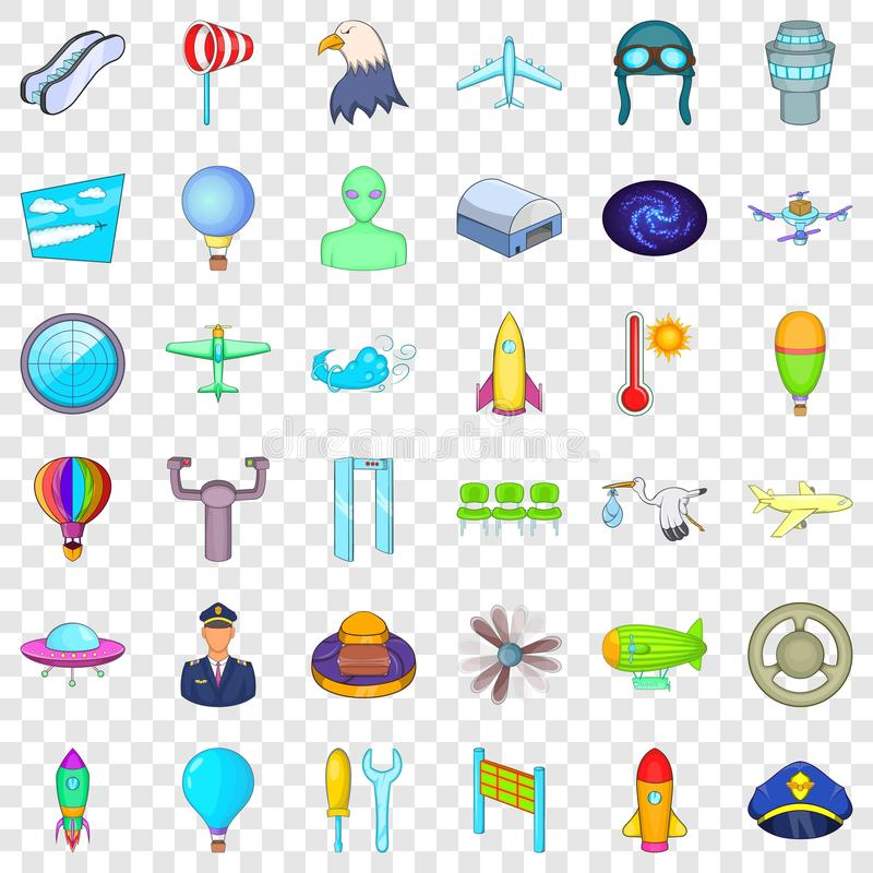 Airplane icons set, cartoon style. Airplane icons set. Cartoon style of 36 airplane vector icons for web for any design royalty free illustration