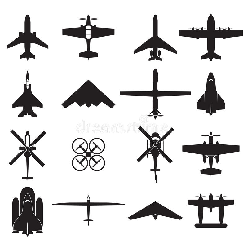 airplane icons set stock illustration