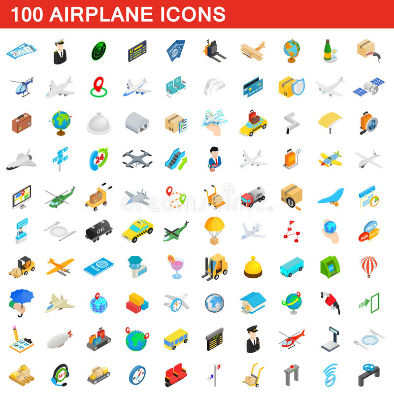 100 airplane icons set, isometric 3d style royalty free illustration