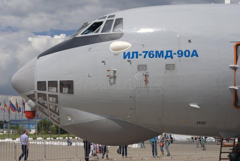 Airplane IL-76MD-90A at MAKS International Aerospace Salon MAKS-2017 royalty free stock images