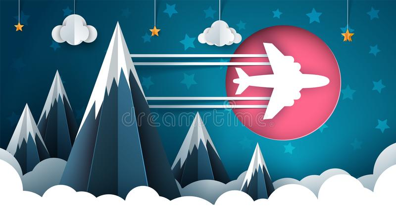 Airplane illustration. Cartoon cloud, star, mountain landscape. stock illustration