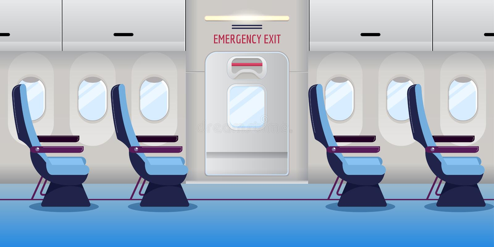 Airplane inside. Empty plane interior with emergency exit door. Vector illustration. Safety aircraft flight concept. Airplane inside. Empty plane interior with royalty free illustration