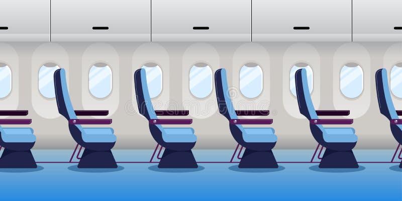 Airplane inside. Empty plane interior, seamless horizontal background. Vector flat cartoon illustration. Economy class flight trip vector illustration