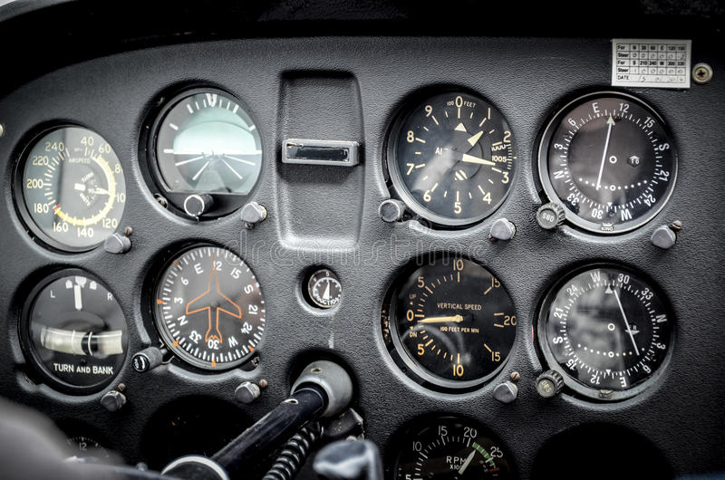 Airplane instruments. Cockpit of light, private airplane, flying at 1300 feet stock image