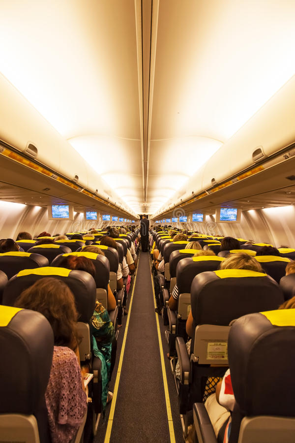Download Airplane interior stock image. Image of lighting, corridor - 25444635