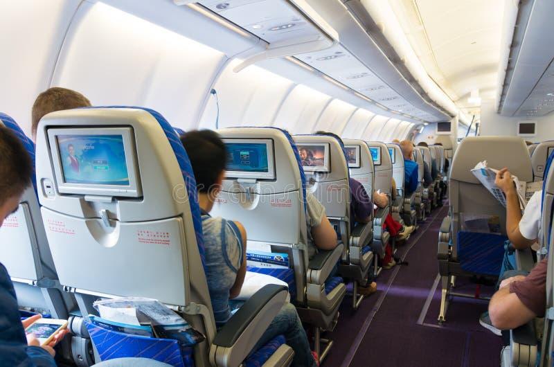 Airplane interior royalty free stock photos