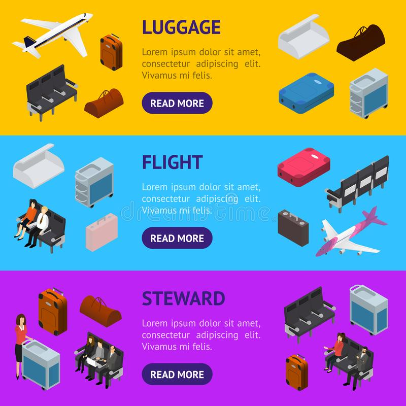 Airplane Interior Elements with People Banner Horizontal Set Isometric View. Vector stock illustration