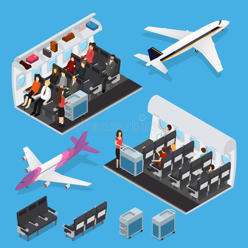 Airplane Interior Elements with People Isometric View. Vector vector illustration