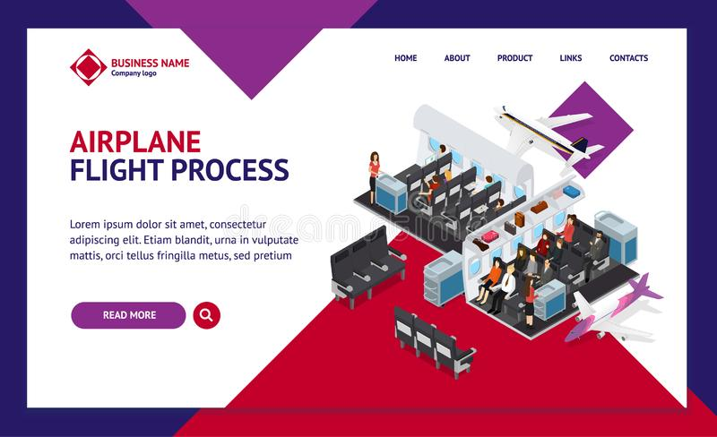 Airplane Interior Elements with People Landing Web Page Template Isometric View. Vector stock illustration
