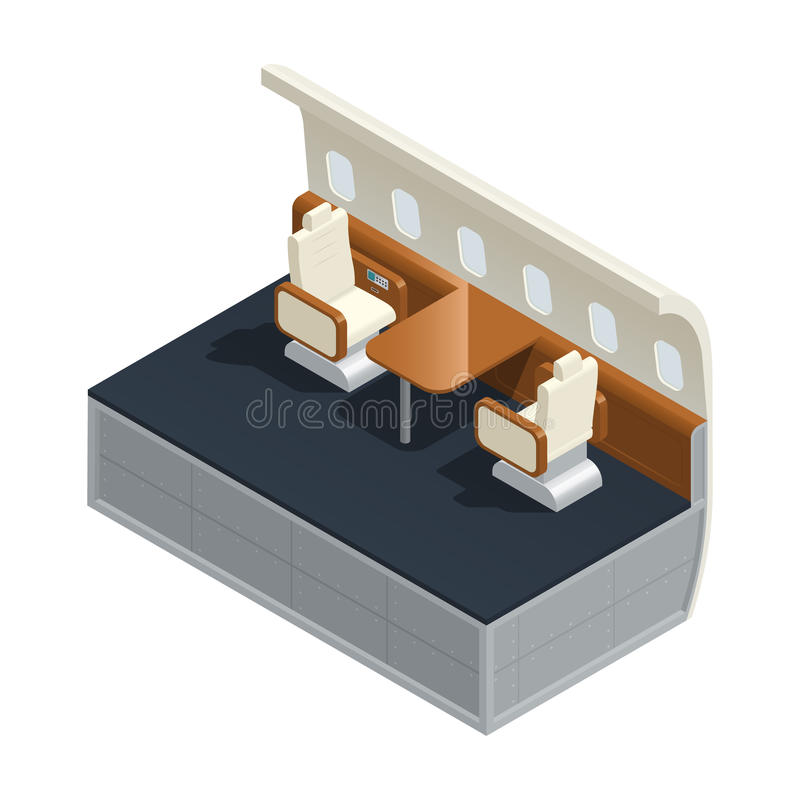 Airplane Interior Isometric Composition royalty free illustration