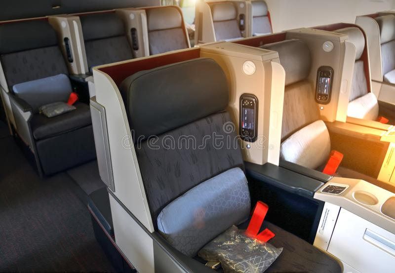 Airplane interiors, first class. Seats stock images
