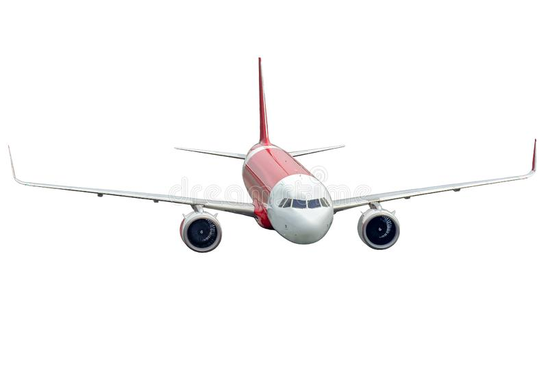 Airplane isolated on white background, front view. royalty free stock image