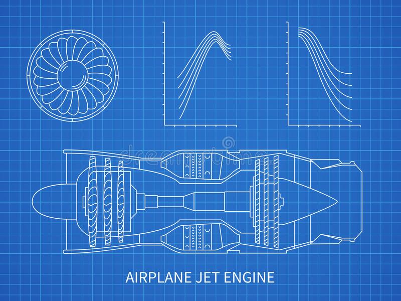 Airplane jet engine with turbine vector blueprint design stock download airplane jet engine with turbine vector blueprint design stock vector illustration of isolated malvernweather Image collections