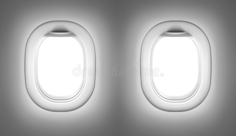 Airplane or jet interior with windows royalty free illustration