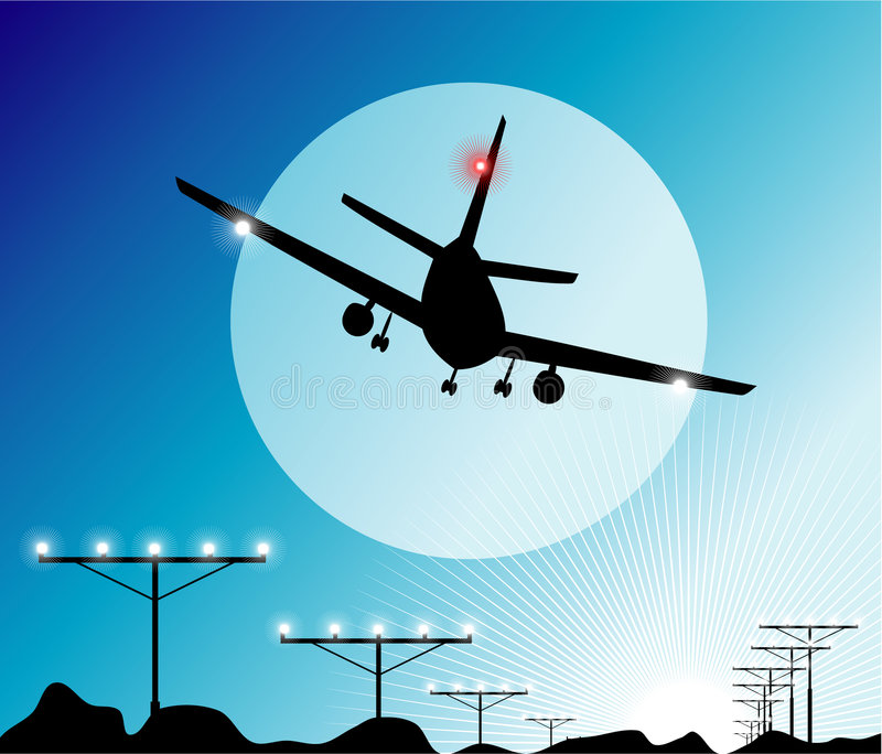 Airplane Landing. In the sky vector illustration