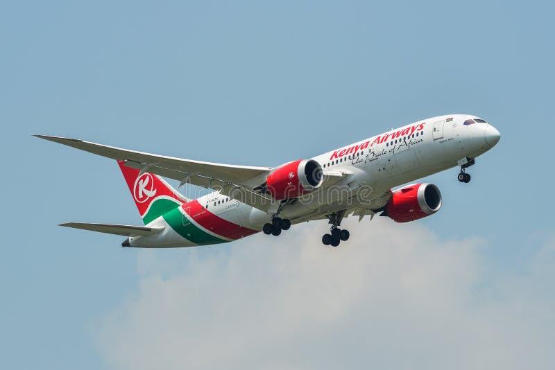 Airplane landing at Bangkok Airport BKK stock image