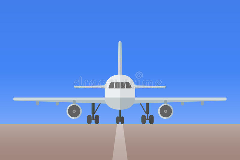 Airplane with landing gear on runway vector illustration