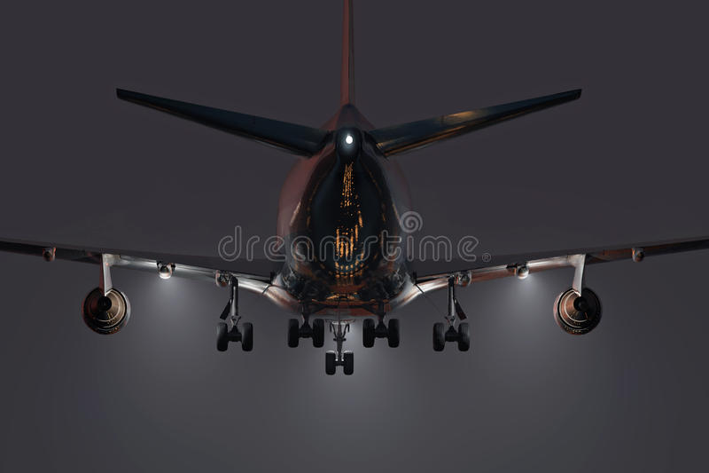 Airplane landing at night vector illustration