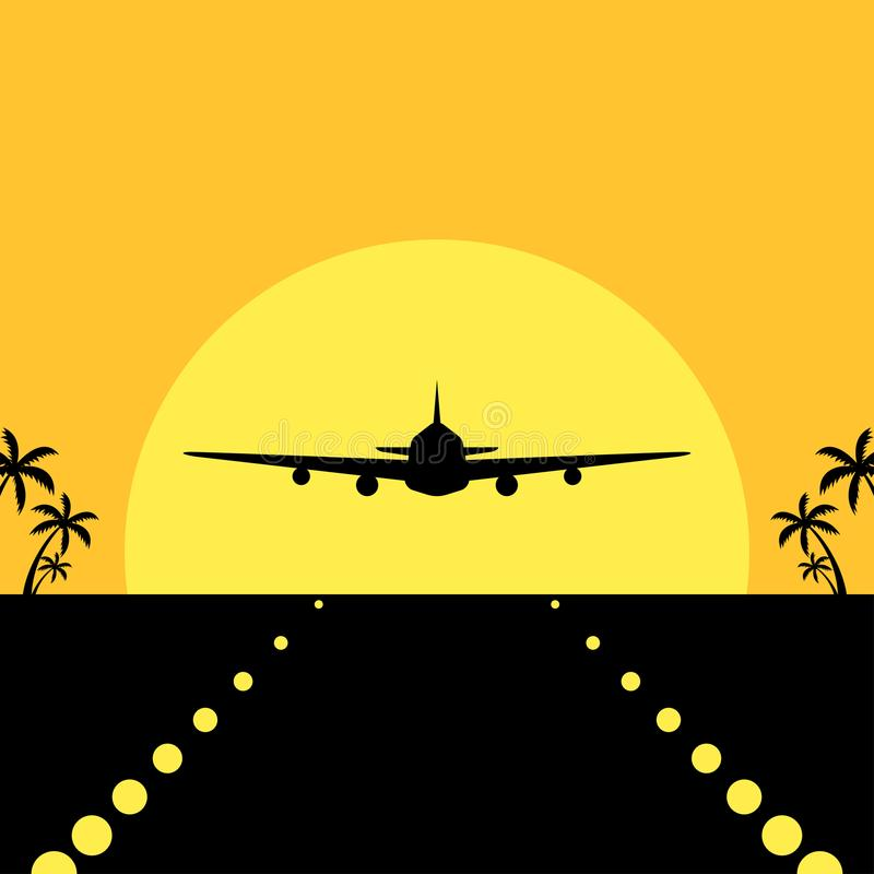 Airplane landing silhouette in tropical environment vector illustration