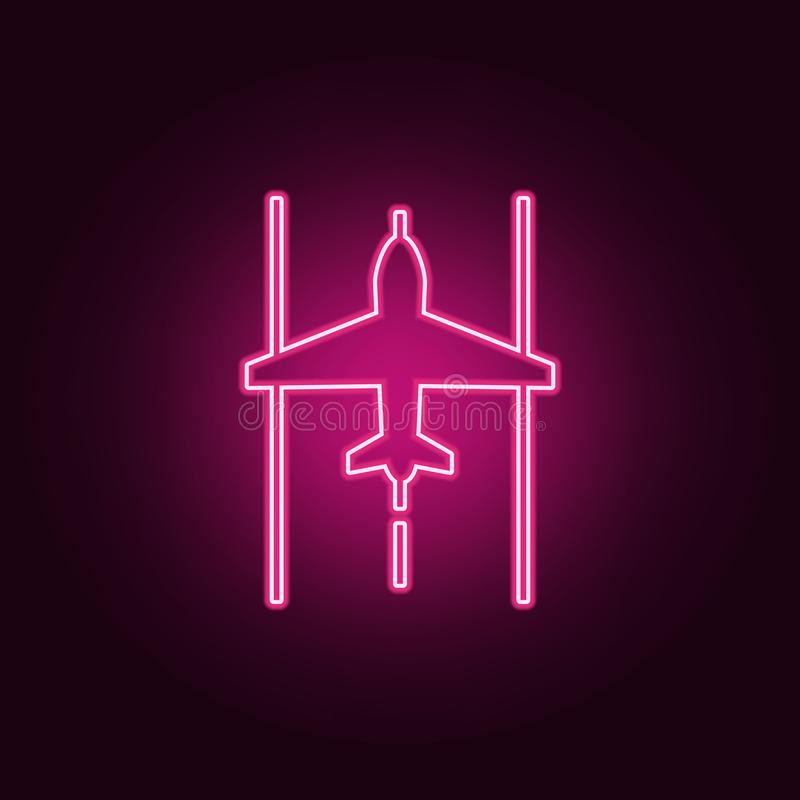 Airplane on the landing site icon. Elements of Airport in neon style icons. Simple icon for websites, web design, mobile app, info. Graphics on dark gradient stock illustration