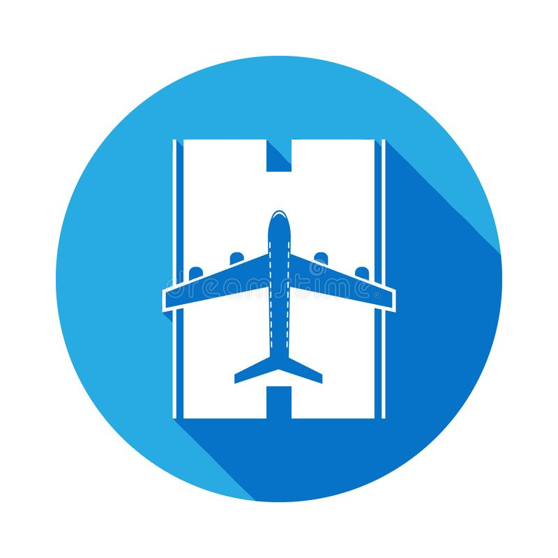 Airplane on the landing site with long shadow icon. Element of travel icon for mobile concept and web app. Detailed airplane on th. E landing site icon can be royalty free illustration