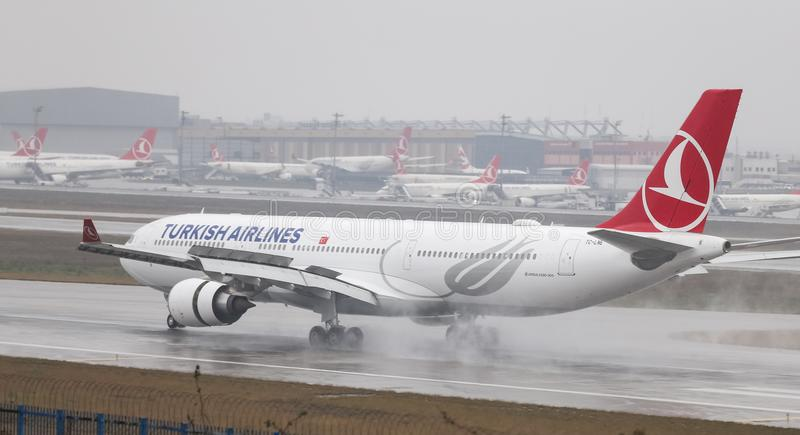 Airplane Landing to Airport. ISTANBUL, TURKEY - MARCH 04, 2018: Turkish Airlines Airbus A330-203 (CN 774) landing to Istanbul Ataturk Airport. THY is the flag stock photography