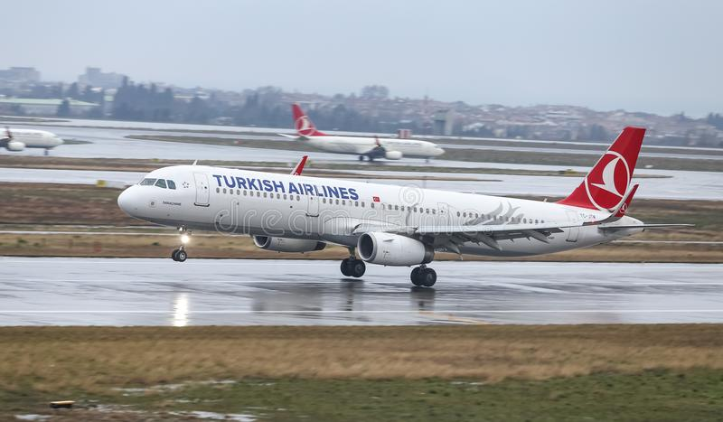 Airplane Landing to Airport. ISTANBUL, TURKEY - MARCH 04, 2018: Turkish Airlines Airbus A321-231 (CN 7242) landing to Istanbul Ataturk Airport. THY is the flag royalty free stock photos