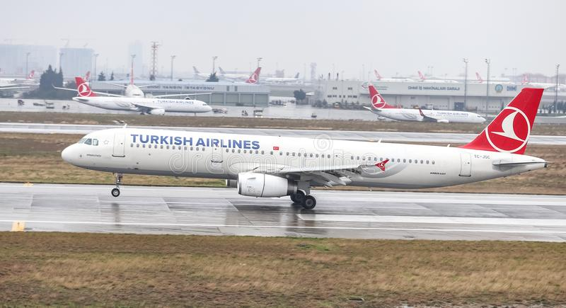 Airplane Landing to Airport. ISTANBUL, TURKEY - MARCH 04, 2018: Turkish Airlines Airbus A321-231 (CN 5254) landing to Istanbul Ataturk Airport. THY is the flag stock images